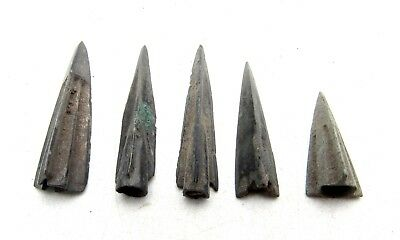 Lot Of 5 Ancient Scythian Bronze Arrow Heads - Ancient Historical Artifacts C196