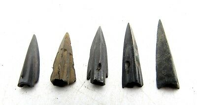 Lot Of 5 Ancient Scythian Bronze Arrow Heads - Ancient Historical Artifacts C197