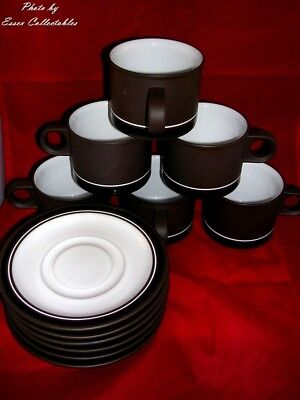 Hornsea Contrast Lancaster Vitramic 6 Cups & Saucers Brown Vintage Vgc 1970's