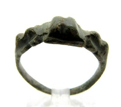 Roman Bronze Ring W/ Pyramid - Ancient Wearable Lovely Artifact - C210