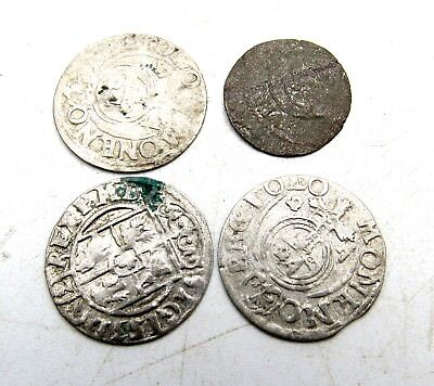 Lot Of 4 Medieval Silver Hammered Coins - Ancient Artifact Stunning - C216