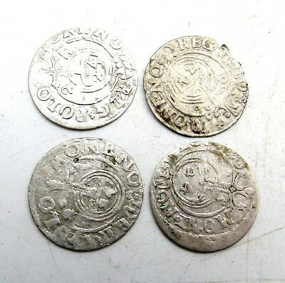 Lot Of 4 Medieval Silver Hammered Coins - Ancient Artifact Stunning - C218