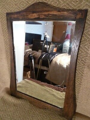 Vintage Arts And Crafts Style Wooden Frame Mirror For Hallway Lounge Pub Shop
