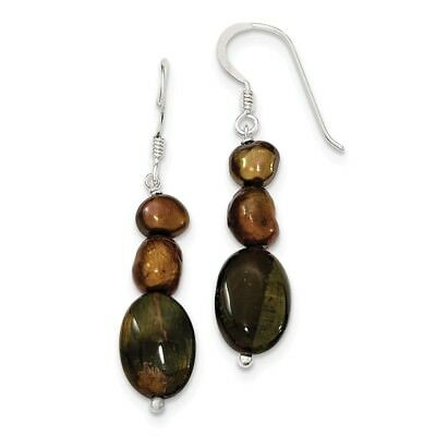 Sterling Silver Tiger's Eye & Brown FW Cultured Pearl Earrings