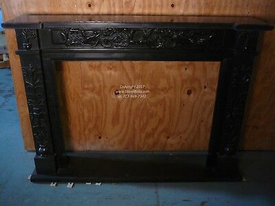 Black Marble Fireplace Mantel – Hand Carved ENGLISH Stone Mantle - IN STOCK