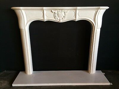 White Marble Fireplace Mantel – UNIQUE DESIGN - Hand Carved Stone Mantle