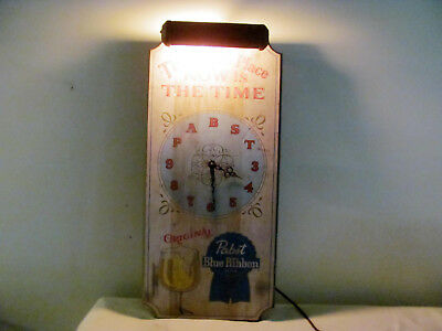 """Vintage Pabst Blue Ribbon Beer """"This is the Place"""" wooden light-up clock"""
