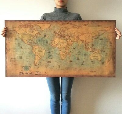 Vintage Nautical World Map Poster    Free  shipping  Gifts Home Decor