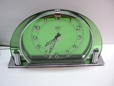 Vintage English Art Deco Smiths Sectric Green Glass Mantel Clock Wow!