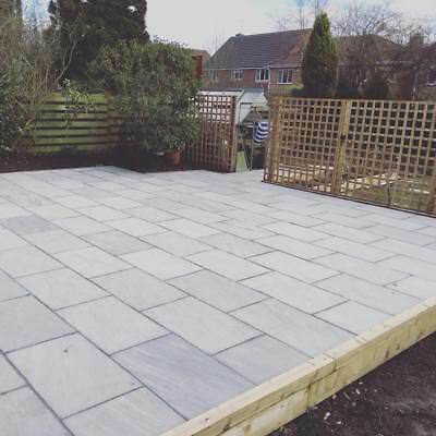 Paving Slabs Indian Sandstone | Kandla Grey | 90cm x 60cm Slabs | 32 Slab Pack