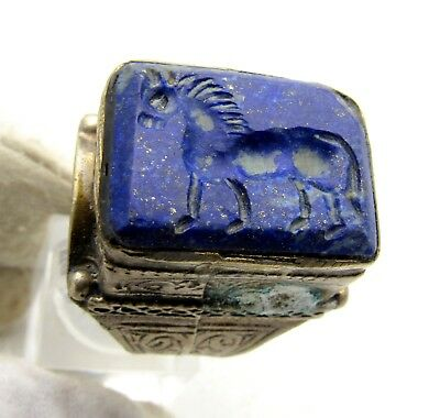 Post Medieval Silver Ring W/ Carved Intaglio Lapis Stone W/ Horse - C244