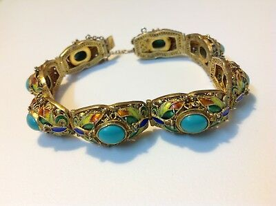 Antique Chinese Sterling silver bracelet natural enameled Turquoise (m1776)