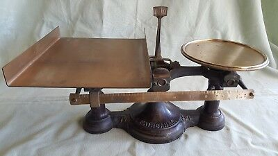 Antique 1896 Fairbanks Cast Iron & Brass Agate Counter Scale.
