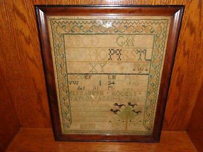 18th.c 1795 Cross Stitch Needle Work Sampler by Elizabeth Rogers Taylor, Antique
