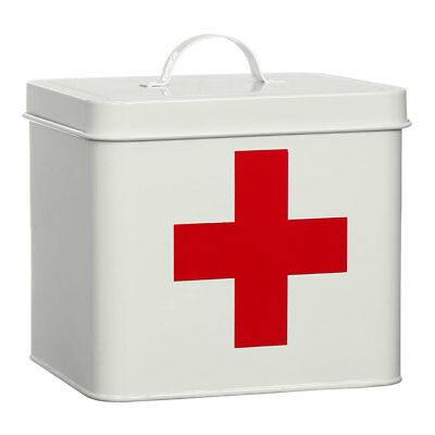 Emergency Kit Medicine First Aid Metal Large Box White Red Cross