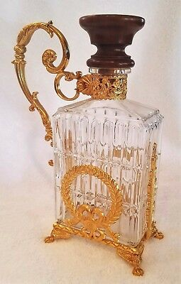 Antique Cut Glass or Crystal & Polished Brass Decanter  - Mod Dep   Italy