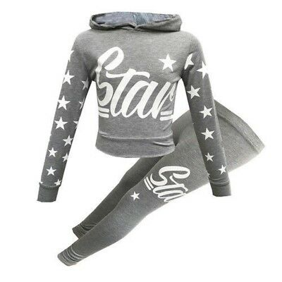 New Girls Kids Childrens Grey Star Hooded Tracksuit Set 7-8 9-10 11-12 13 Years