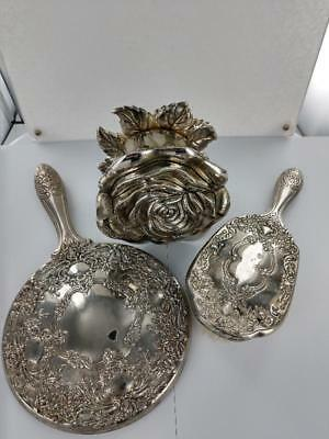 vintage silver plate hand mirror, brush and rose trinket box
