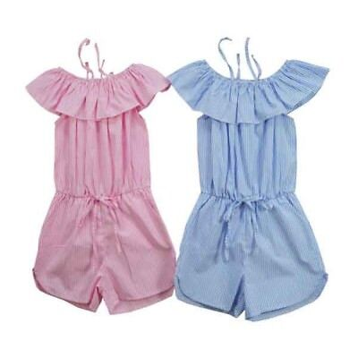 Girls Cotton Playsuit Jumpsuit Off Cold Shoulder Bardot Kids Frill Age 2-14 Year