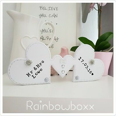 ♡ Free standing wooden hearts. Wedding gift. Add surname and wedding date ♡
