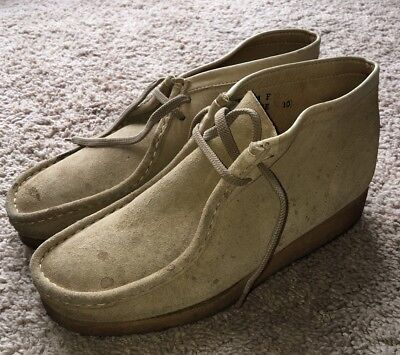 fe2a3afbc70 MENS VINTAGE CLARKS Wallabees Tan Suede Moccasin Boot SZ 10 Made In Ireland