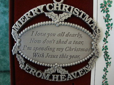 merry christmas from heavenpewter ornament1990john mooneyusa
