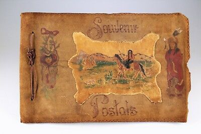 LEATHER POST CARD ALBUM with native american hand painted cover NO RESERVE