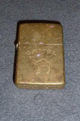 1992 Zippo CIGARETTE Lighter ~ Engraved JOE Embossed Camel Antique Brass