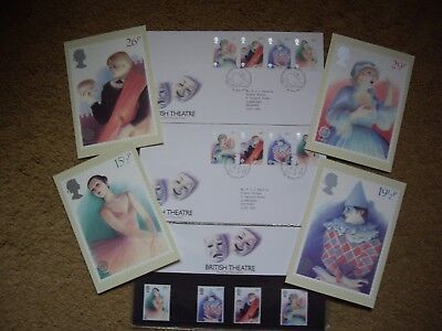 British Theatre Stamps 1982 Presentation Pack ,Card Set, & Two First Day Covers