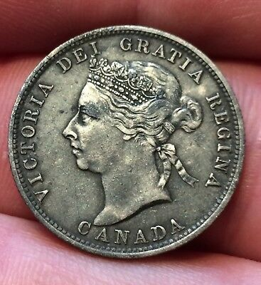 1888 SILVER CANADIAN STERLING SILVER 25 CENTS. NICE DETAILS.Metal detecting find