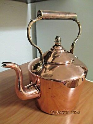Large 19th Century Copper & Brass round kettle with acorn finial 8 pt