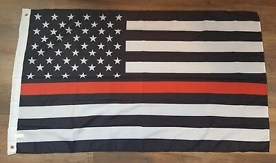 3x5 3'x5' First Responder Fire Fireman The Brave Thin Red Line 140D Flag