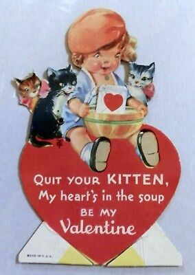 1930s Mechanical Valentine with Kittens  - Twelvetrees Art  Signed