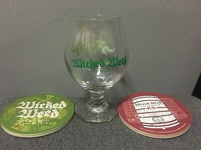 Wicked Weed Brewing Company beer Glass snifter chalice 13oz & Coasters BRAND NEW