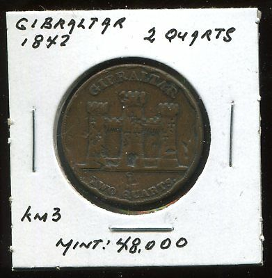 ** Gibraltar 1842 , 2 Quarts...scarce, Low Mited 48 K. **