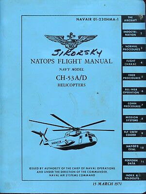 Natops Flight Manual Navy Model Ch-53 A/d (Sikorsky) Helicopters