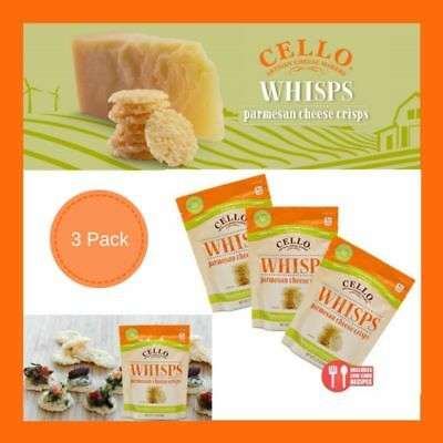 3 Pack Cello Whisps Airy Wispy Pure Parmesan Cheese Crisps Perfect Snack Food