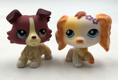 2pcs LPS #1262 #886 Littlest Pet Shop Collection Collie Dog Yellow Cat Kitty Toy