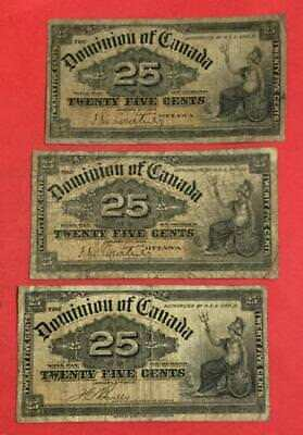 """1900 Dominion of Canada """"TWENTY FIVE CENTS"""" Fractional Set of 3! Old Currency"""