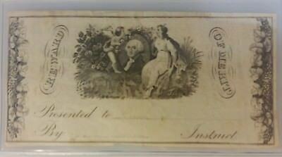 Early 1800s Reward of Merit Engraved Certificate with Washington Vignette