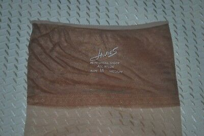 "3 Pair New 11 34"" ""Hanes"" Rein Heel Toe Barely There Vintage Nylon Stockings"