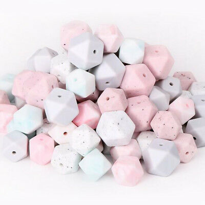 50Pcs Hexagon Silicone Beads DIY Teething Baby Chewable Jewelry Teether 14mm