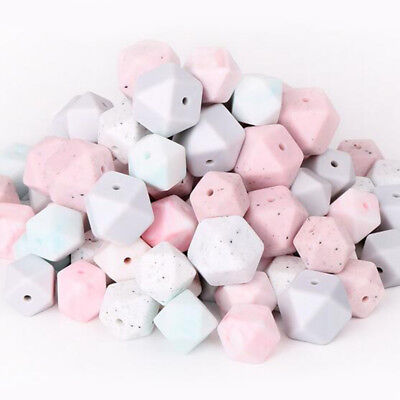 Speckle Hexagon Silicone Beads DIY Teething Baby Chewable Jewelry Teether 14mm