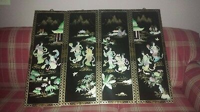 4  Vintage Asian Black Lacquer Mother of Pearl Wall Panels Art Chinese Geisha's