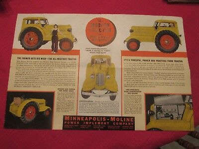 Antique Minneapolis Moline Brochure Deluxe Model MM Tractor-Awesome Piece!