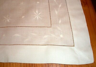 Vintage White Linen Hand Embroidered  Whitework Tablecloth