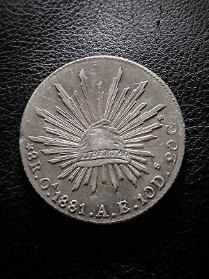 Mexico 8 Reales, 1881 AE Minted in Oaxaca, Mexico Rare Only 120,000 Minted Coin