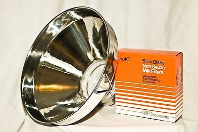 Large Stainless Steel Milk Strainer, 13 Inch, Includes Filters (New Other)