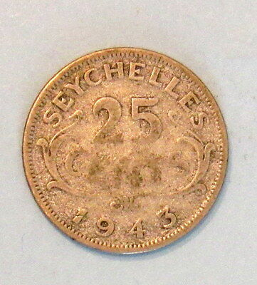 1943 Seychelles pre-independence 25 cents coin King George IV
