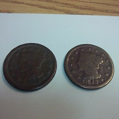 Lot Of 2 US Large Cents - 1817 Coronet Head & 1853 Braided Hair great details!!